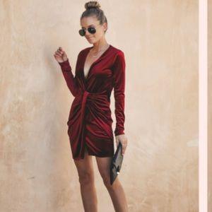Small Vici Collection Maroon velvet v neck dress